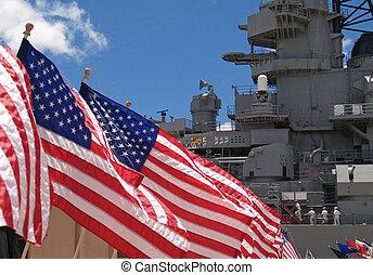 US Flags Flying Beside the Battlesh - US flags flying beside...