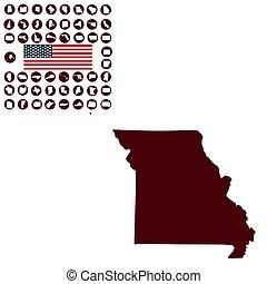 u..s.., fondo., misuri, blanco, mapa del estado