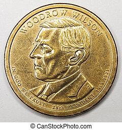 US Gold Presidential Dollar Featuring Woodrow Wilson