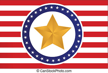 US gold star flag illustration
