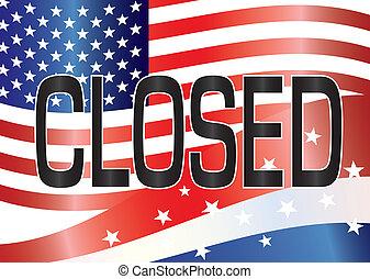 US Government Shutdown Closed Sign Illustration