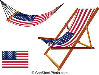 us hammock and deck chair set against white background,...