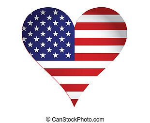 US heart illustration design isolated over a white...