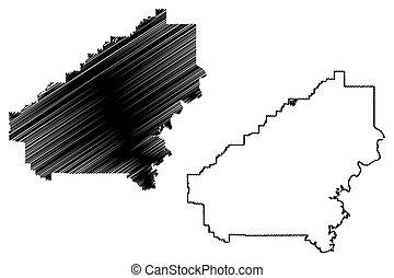 u..s.., ilustración, estados, vector, (counties, bosquejo,...