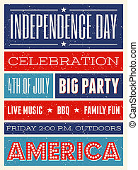 US Independence Day Party Flyer - Retro style party flyer...