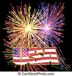 US inscription stylized flag colors in a gold frame on a background celebratory fireworks on Independence Day. illustration