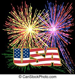 US inscription stylized flag colors in a gold frame on a background prazdnechnogo fireworks on Independence Day.