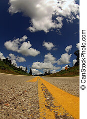 US interstate road - Interstate road with blue mackerel sky