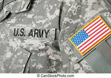us kennzeichen, und, usa., armee, fleck, auf, militärische uniform