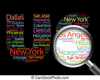 US letters with cities names words cloud