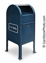 US Mail - blue US mailbox on white background
