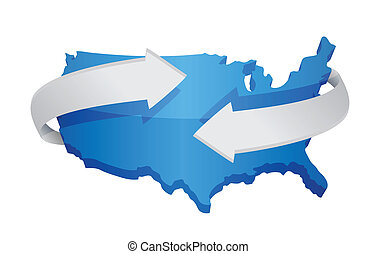 us map changing concept illustration design over white