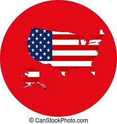 US map flag icon vector illustration