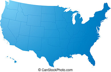 us map plain - A blue map on a solid white background