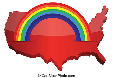 us map with a rainbow illustration