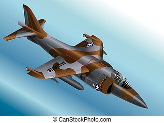 US Marine Corp AV-8A Jet Fighter - Detailed Isometric Vector...
