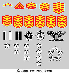 US Marine Corps rank insignia for officers and enlisted in ...