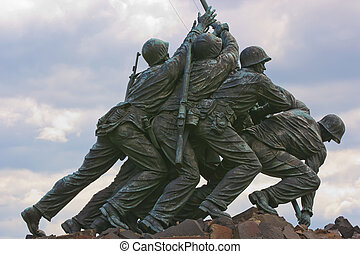 The United States Marine Corps War Memorial depicting the flag raising at Iwo Jima.