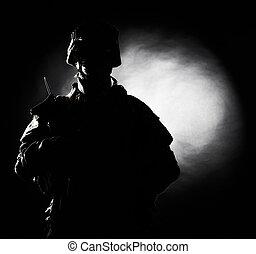 US marine silhouette on fiery background