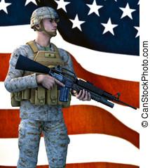US Marine Standing before FLag - United States Marine...