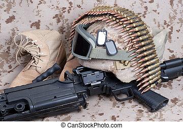 US Marines background concept with machine gun