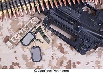 US Marines background with service tapes, dog tags and...
