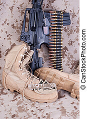 US Marines concept with firearms, boots and camouflaged...