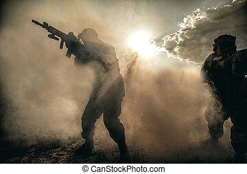 US Marines in action. Desert heat
