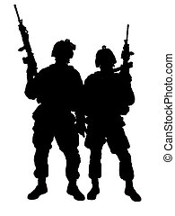 US marines - Silhouette of two US marines with rifles