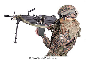 US MARINES with M249 machine gun