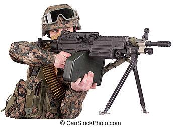US MARINES with machine gun isolated