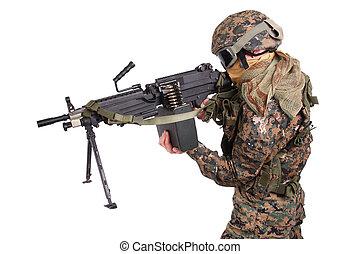 US MARINES with machine gun isolated on white