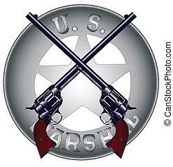 Two long barel six guns on top of a US Marshal Badge