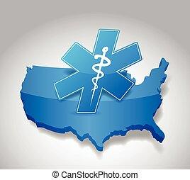 us medical symbol map illustration