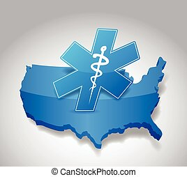 us medical symbol map illustration