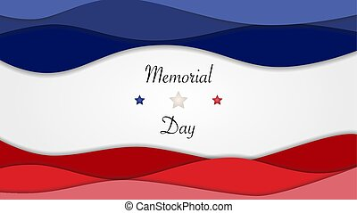 US Memorial Day background horizontal banner with stars and american flag colors. Vector illustration.