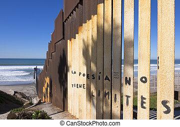 U.S. - Mexico border fence at the beach in Tijuana