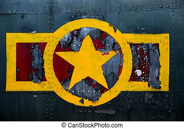 US military plane fuselage and logo - Ho Chi Minh City,...