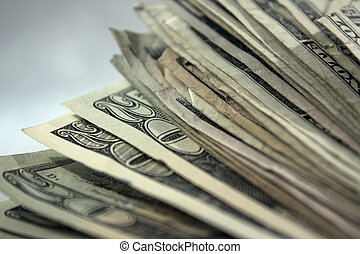 US Money Stack Background 1 - An extreme close up of a stack...