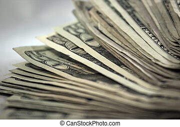US Money Stack Background 2 - An extreme close up of a stack...
