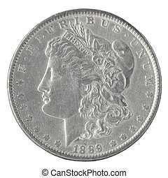 US Morgan Silver Dollar isolated on white