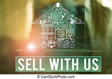 us., mot, vendeur, business, vente, électronique, écriture, vendre, texte, concept, ligne, commerce., regarder, plate-forme