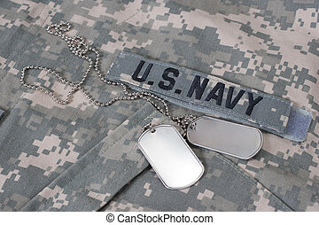 us navy camouflaged uniform with blank dog tags