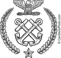 Doodle style military insignia for the US Navy including crossed anchors and wreath