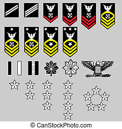 US Navy rank insignia for officers and enlisted in vector...