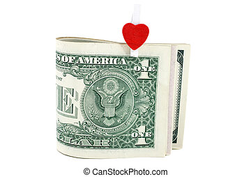 U.S. one dollars with symbol of heart