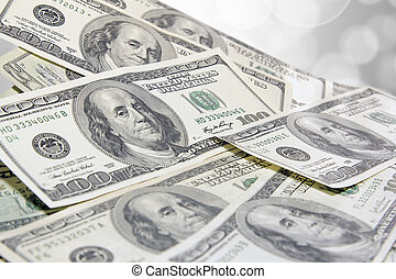 Pile of United States of America One Hundred Dollar Bills Background