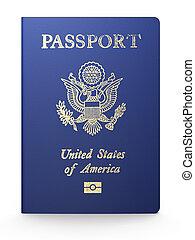 US passport on white background