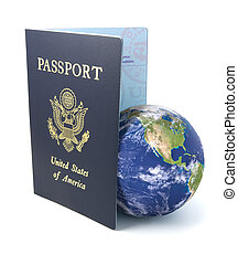 US Passport with Earth on White
