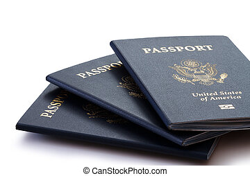 us passports over white background